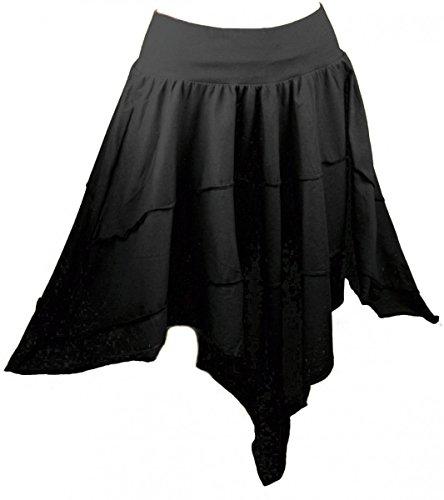 Dark Dreams alternative kleidung Ethno Nepal Gothic Hexe Witchy Elfe Rock Zipfel Skirt oliv grün bordeaux schwarz 36 38 40 42, Farbe:schwarz, Größe:freesize