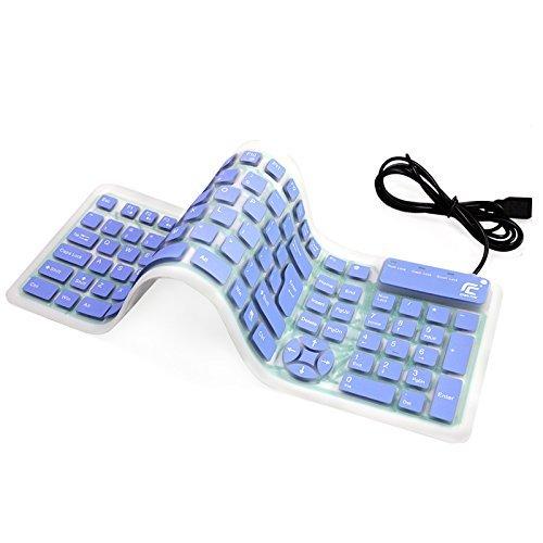 QWERTY flexible Tastatur, YUMQUA Faltbar Silikon-Tastatur mit 1.6M USB Kable 107 Tasten Soft Foldable Silicone Roll Up Keyboard wasserdichte Ersatztastaturen für Computer Laptop Notebook PC Mac (auf der Reise/Dienstreise, im Freien, in der Nacht usw.)
