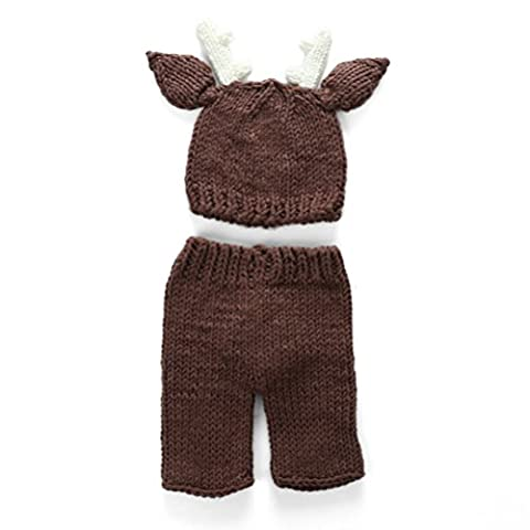 Zhuhaitf 0 to 4 Months Baby Photography Prop Newborn Baby Girls Boys Cotton Crochet Knit Costume Hat Pants Photography Props 3923#