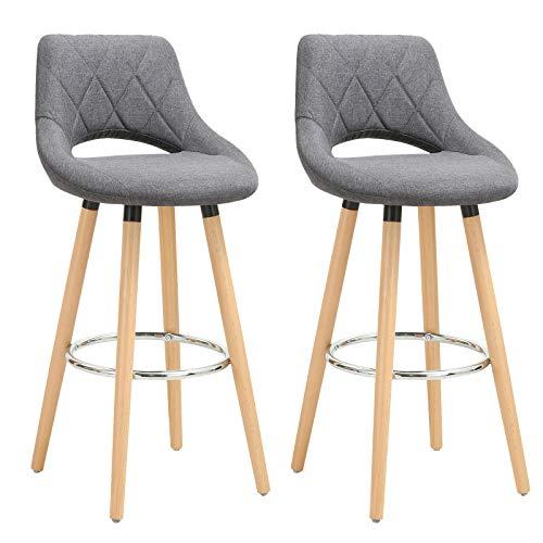 WOLTU® Barhocker BH111dgr-2 2er Set Barstuhl Bistrohocker Tresenhocker mit Lehne und Fußstütze Design Stuhl Holz Leinen Dunkelgrau -