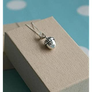 925 Sterling silver acorn necklace - Autumn woodland pendant