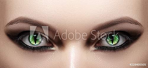 Wunschmotiv: Close-up of Woman Eyes. Halloween Makeup. Cat Eye Lens. Fashion Catwalk Black Make-Up. Luminous Green Cats Eyes #228405505 - Bild auf Alu-Dibond - 3:2 - 60 x 40 cm / 40 x 60 cm