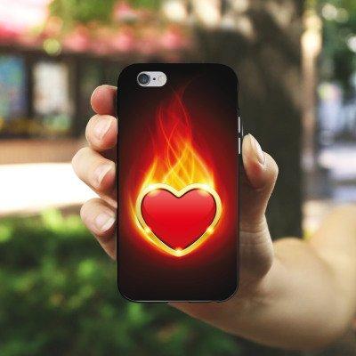 Apple iPhone 4 Housse Étui Silicone Coque Protection C½ur Flammes Housse en silicone noir / blanc