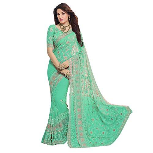 Craftsvilla Chiffon Saree With Blouse Piece (MCRAF78906166300-Green_Green_Free Size)