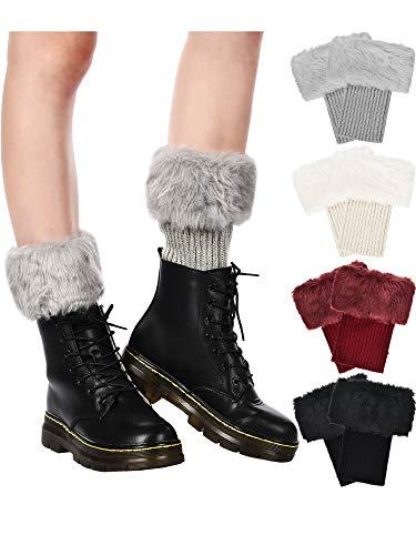 Pangda 4 Paar Damen Stiefelstulpen aus Kunstfell, kurze Beinwärmer, Mädchen, Wintersocken, Stricksocken, 4 Farben - Mädchen Kunstfell