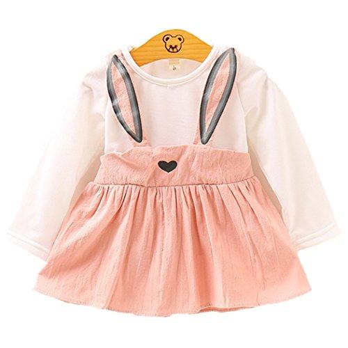 Baby Mädchen Kleider, Allskid Kleinkind Herbst Lange Ärmel Süßer Hase Bandage Prinzessin Rosa Kleid Girls Dress