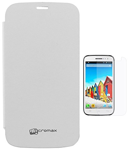 Evoque Flip Cover For Micromax Canvas 2 Colors A120 White + Screen Guard  available at amazon for Rs.175