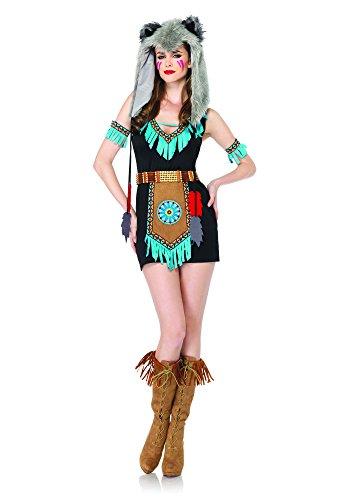 Leg Avenue 85205 - Wolf Warrior Kostüm Set, 4-teilig, Größe S/M, braun (Wolf Warrior Kostüm)
