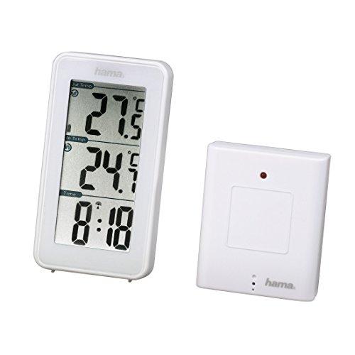 Hama Funk Wetterstation EWS-152 (Funkuhr und Thermometer, inkl. Außensensor mit 50m Reichweite) weiß