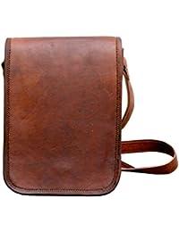 "9"" Pure Genuine Leather Handmade Satchel Messenger Unisex Shoulder Bag Daily Use"