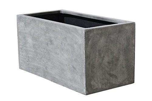 Vivanno Pflanzkübel Pflanztrog Pflanzkasten Fiberglas Beton-Design Grau Maxi - 45x100x45 cm