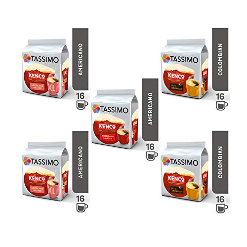 Tassimo Coffee Kenco Bundle - Kenco Americano Smooth / Americano Grande / Pure Colombian pods - Paquete de 5 (80 porciones)