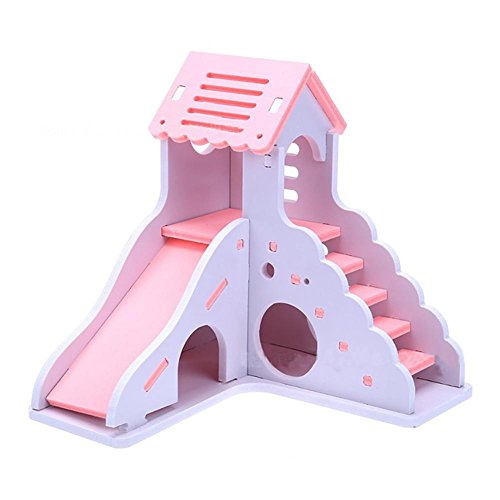 G-wukeer Hamster Nest - Hamster Schlafnest Kreative Farbe Kleines Haus Spielzeug Nest Bär Bär Doppel Bungalow Villa Balkon Hamster Käfig Supplies -