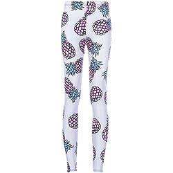 Señoras Niñas Mujeres Europa Y Estados Unidos Impresión Digital Piña De Color Slim Yoga Pantalones Calzoncillos Polainas,AsShown-L