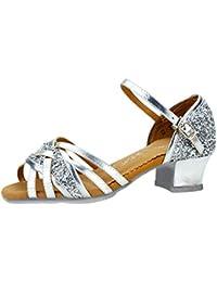Zapatos de Baile Latino para niña | Liqiqi Zapatos de Premio de Lentejuelas de Plata estándar Antideslizantes del talón - Princess Shoes - Ballroom / 35 Girl Series 1