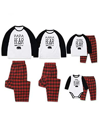 Matching Family Pajamas Sets for Dad Mom Child Baby - Soft Comfortable Cotton Pyjamas Papa Mama Baby Printing Long Sleeve T-Shirt and Red Plaid Trousers ()