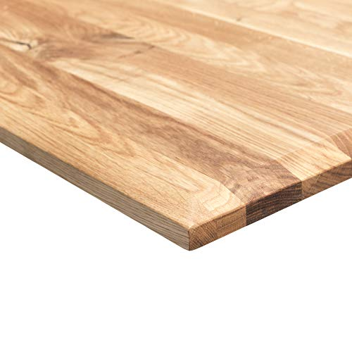 boho möbelwerkstatt DO IT Yourself Massivholz Tischplatte Schreibtischplatte 160 x 80 x 2.5 cm in Eiche Massiv mit 50 mm Breiten, durchgehenden Lamellen geölt und gewachst