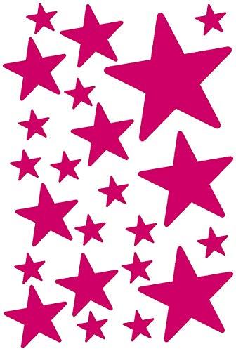 Samunshi® Sterne Aufkleber Set gefüllt runde Ecken 14x2,5cm6x5cm2x7,5cm1x10cm pink