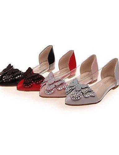 XAH@ Chaussures Femme-Extérieure / Décontracté-Noir / Rose / Rouge / Gris-Talon Plat-Bout Pointu-Plates-PU black-us8.5 / eu39 / uk6.5 / cn40