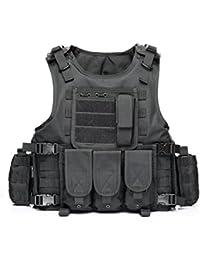YAKEDA® Hinchas del ejército chaleco táctico Swat Cs campo táctico del ejército del chaleco del chaleco al aire libre Cs del juego del chaleco de Cosplay del juego Counter Strike Vest-322 (negro)