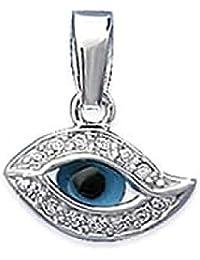 So Chic Bijoux © Pendentif Oeil Protection Amulette Bleu Oxyde de Zirconium  Blanc Argent 925 Rhodié 1e4b18b73cef