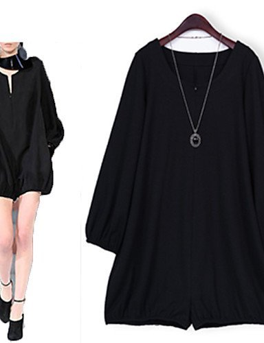 GSP-Combinaisons Aux femmes Manches Longues Décontracté / Grandes Tailles Coton Moyen Elastique black-m