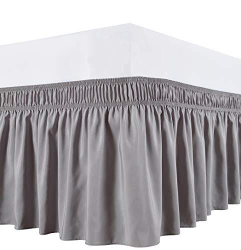 Biscaynebay wrap around bett röcke, elastic staub rüschen, easy fit falten und fade resistant königin silber-grau