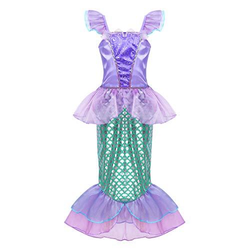 YiZYiF Mädchen Prinzessin Kleider Kostüm Meerjungfrauen Kleider mit Skala Druck Karneval Fasching Weihnachten Party Cosplay Kostüm für Kinder 3-10 Jahre Lavendel & Grün 110-116/5-6Jahre -