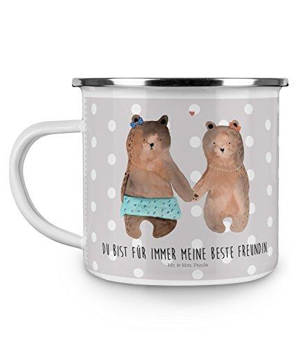 Mr. & Mrs. Panda Emaille Tasse Bär Freundin – 100% handmade in Norddeutschland – Bär Freundin Beste Freund Liebe Liebesbeweis Verliebt Kumpel Kumpeliene, Emaille Tasse, Camping, Kaffeetasse, , Metalltasse, Campingbecher, Tasse, Kaffeebecher, Becher