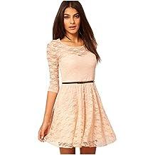 Minetom Nuovo Stile Donne Abito Mini Abito Vestito Pizzo Manica A 3/4  Dresses Con