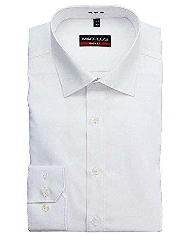 Am Besten Weiße Hemden (MARVELIS Body Fit Hemd Langarm New Kent Kragen, 39, weiß)