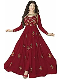 Ethnic Wings Women Georgette Anarkali Semi-Stitched Salwar Suit (EW& ET_ER10213_Red_Free Size)