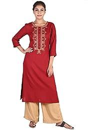 TEEJ New Women's Plain Maroon Rayon Designer Partywear Long Straight Rayon Kurta