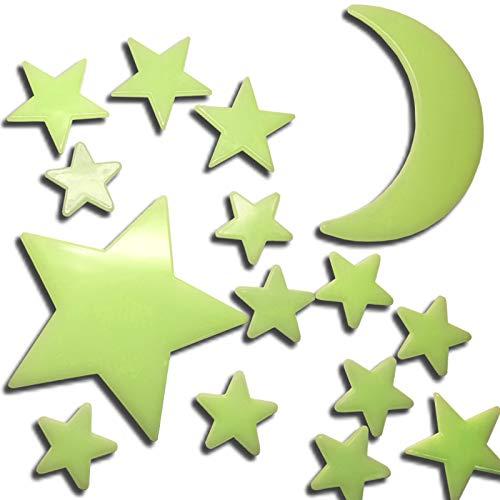 60 Stück Leuchtsterne Leuchtmond selbstklebend für deinen Sternenhimmel fluoreszierend Leuchtaufkleber im Dunkeln leuchtende Sterne Mond Wandsticker Kinderzimmer Schlafzimmer