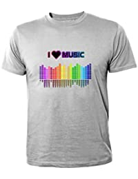Mister Merchandise Homme Chemise T-Shirt I love Music