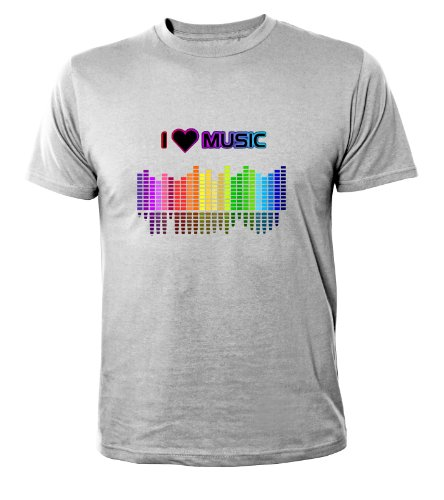 Mister Merchandise Cooles Herren T-Shirt I love Music , Größe: XXL, Farbe: Grau (Dj Mister Cool)