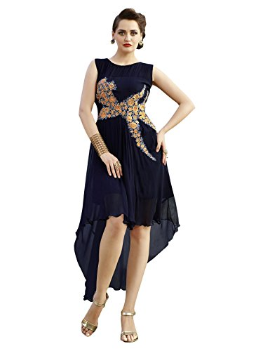 Varayu Women's Georgette Party Wear Blue Stitched Kurti