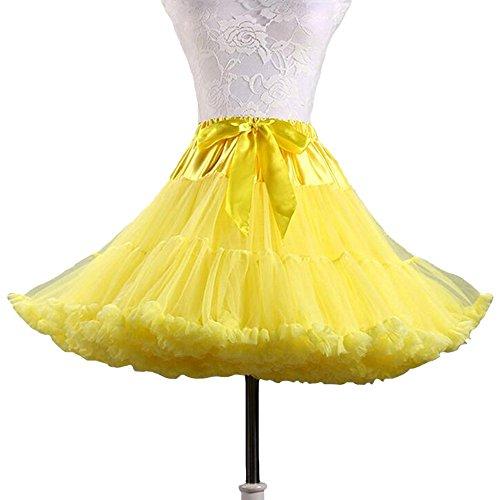 SANSEIJH Damen Erwachsene Schleife Netz Petticoat Tutu Rock, Wedding Zubehör (12 Farbe) Gelb