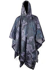 ULLK Polivalente de camuflaje impermeable de lluvia cubierta conjunto, impermeable poncho de lluvia/toldo de tienda a prueba de agua/alfombra de tierra manta-mejor para picnic de playa Camping Senderismo ect (C)