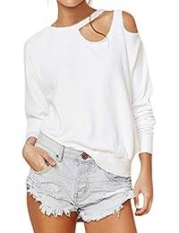 Camisas Blancas Elegantes Mujer, LILICAT® 2018 Tops con Hombros Descubiertos de Manga Larga Sexy, Blusa Suelta del O-Cuello de la Manera (S, ��Blanco)
