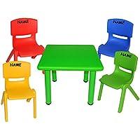 Preisvergleich für 5 tlg. Set: Sitzgruppe - Tisch + 4 Kinderstühle - BUNT - incl. Namen - stapelbar / kippsicher / bis 100 kg belastbar - für INNEN & AUßEN - Plastik / Kunststoff - Stuhl Stühle / Kinderzimmer / Kindertisch - Kinder - Gartenmöbel Kindertischgruppe - Tischgru