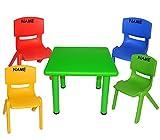 5 tlg. Set: Sitzgruppe - Tisch + 4 Kinderstühle - BUNT - incl. Namen - stapelbar / kippsicher / bis 100 kg belastbar - für INNEN & AUßEN - Plastik / Kunststoff - Stuhl Stühle / Kinderzimmer / Kindertisch - Kinder - Gartenmöbel Kindertischgruppe - Tischgruppe / Kindermöbel für Mädchen & Jungen