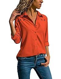 4b6378f67017 Quceyu Damen Bluse Langarm V-Ausschnitt Elegant Einfarbig Hemd Casual  Oberteile Top