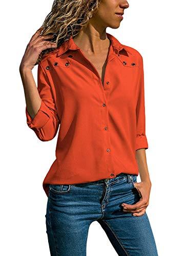 Quceyu Damen Bluse Langarm V-Ausschnitt Elegant Einfarbig Hemd Casual Oberteile Top (Orange, Medium)