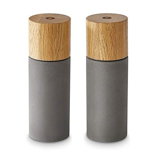 Salz & Pfeffermühle 2er Set aus Eichenholz & Beton, Gewürzmühle, Chilimühle, Verstellbares Keramikmahlwerk, Unbefüllt, Skandinavisches Design, Pepita - Misty Cliff