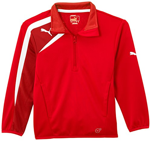 PUMA Kinder Jacke Spirit Half Zip Training Jacket Trainingssweatshirt, Red/Chili Pepper/White, 164 Half Zip Training
