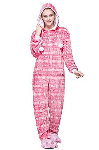 Honeystore Unisex Erwachsene Weihnachten Halloween Fasching Carnival Rosa Schneeflocke Pajamas Pyjamas Schlafanzug Kostüme Jumpsuit Kleidung - Schneeflocke Kostüm Baby