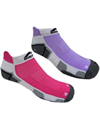 'New Style' 2 Pair pack Womens More Mile cushioned MIAMI running socklet Pink & Lilac