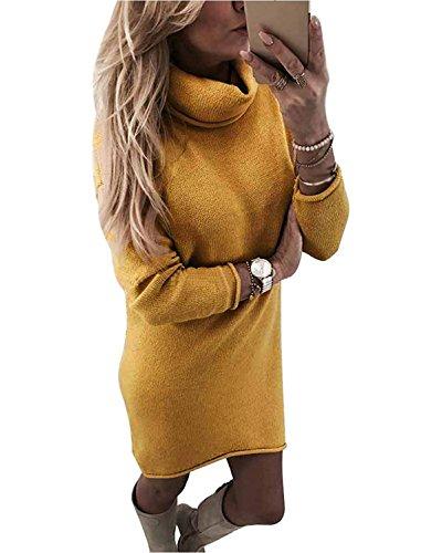 Minetom Damen Strickkleid Feinstrick-Kleid im Oversized-Look mit Rundhals-Ausschnitt aus hochwertiger Materialqualität Rosa DE 36 (Feinstrick-kleid)