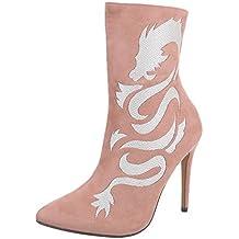Ital-Design Zapatos para Mujer Botas Tacón de Aguja Botines de Tacón